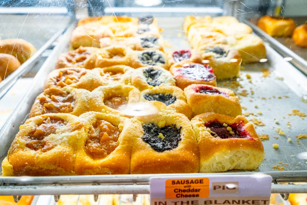 tray of kolaches for sale a weikels bakery in la grange texas