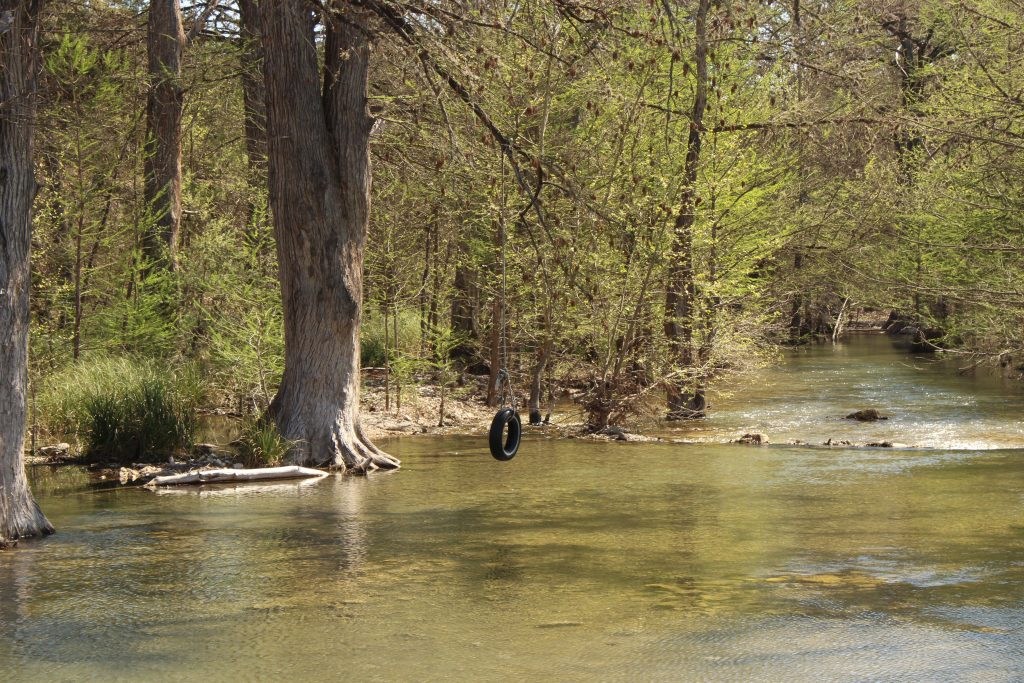 tire swing over a creek in texas