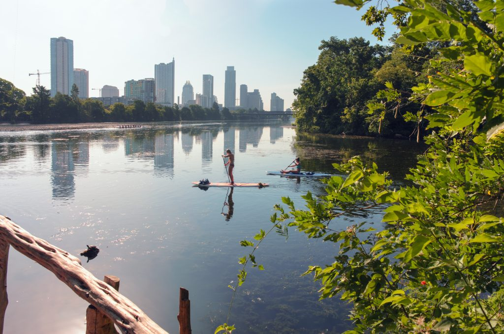 view of kayakers from lou neff point in austin