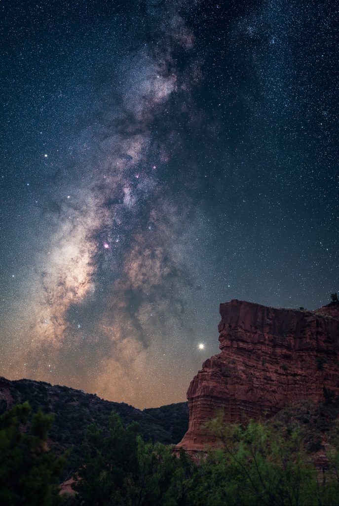 view of the milky way from caprock canyons state park, one of the best texas stargazing locations