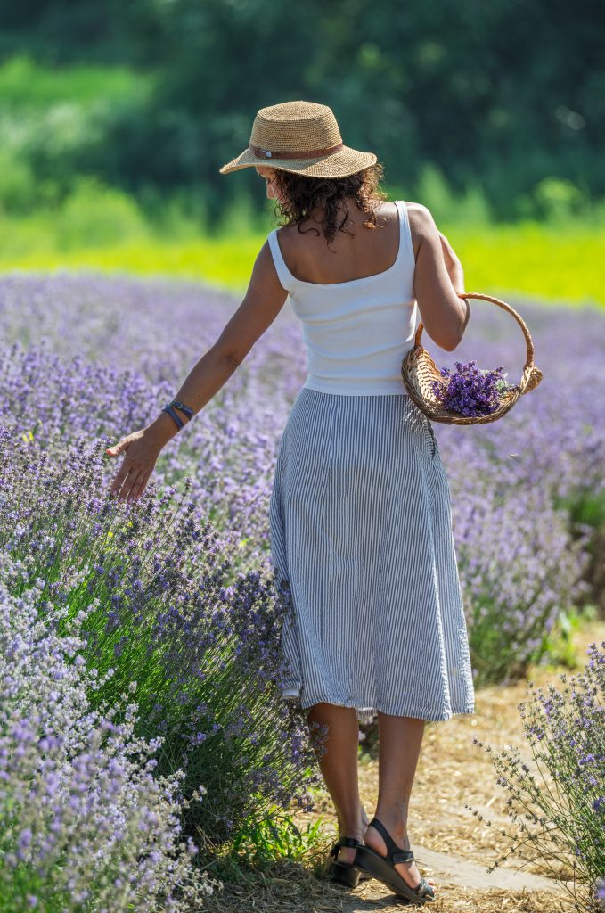 woman walking through blooming lavender fields in texas
