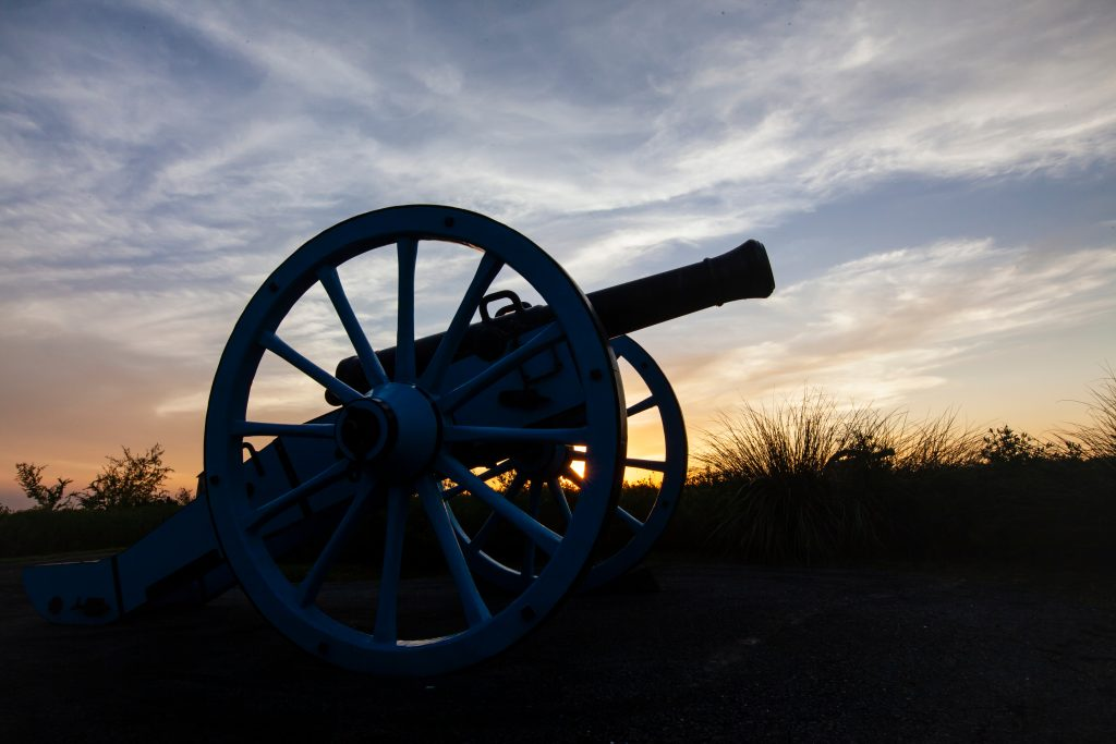 cannon at sunrise on palo alto battlefield, one of texas national parks