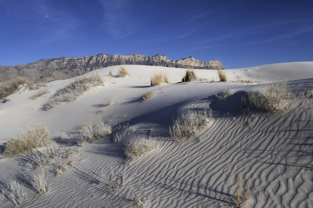 white sand dunes in salt basin, as seen on guadalupe mountains np hikes