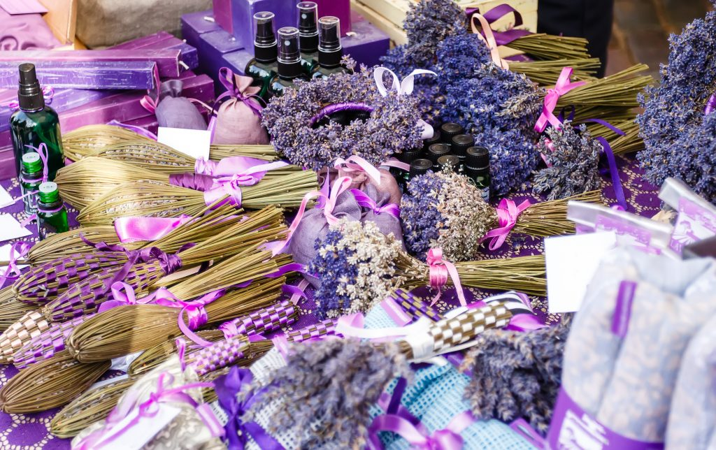 selection of lavender satchels and oils for sale