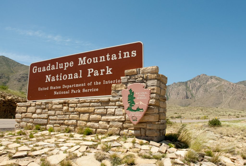 entrance sign for guadalupe mountains national park