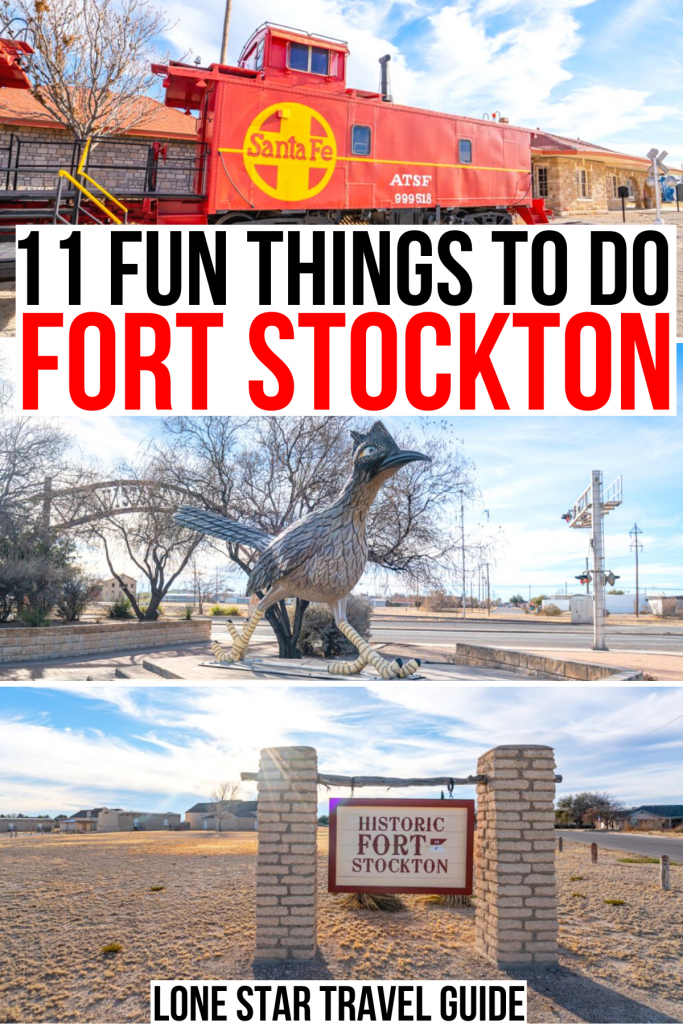 """3 photos of ft stockton tx: train, roadrunner, sign. black and red text reads """"11 fun things to do fort stockton"""""""