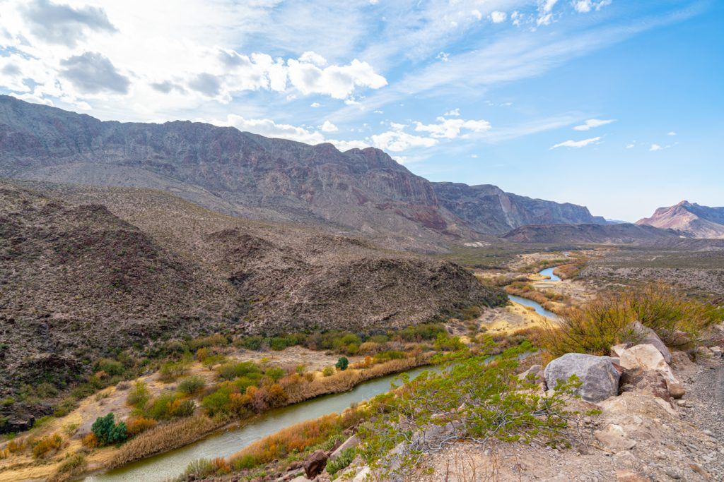 view of rio grande in a canyon at big bend ranch state park, one of the best texas state parks in west tx