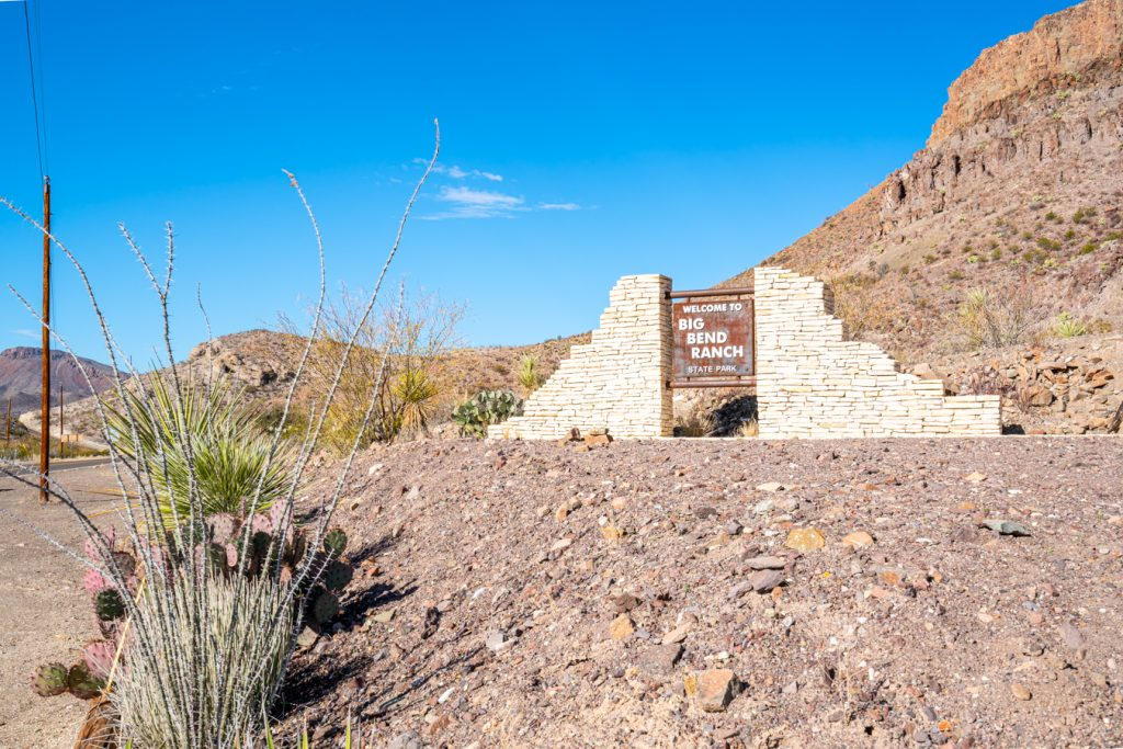 sign marking the entrance for big bend ranch texas