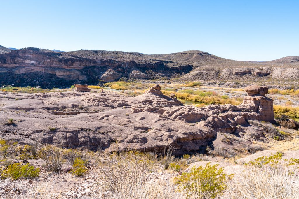 hoodoos as seen from above in big bend ranch state park texas