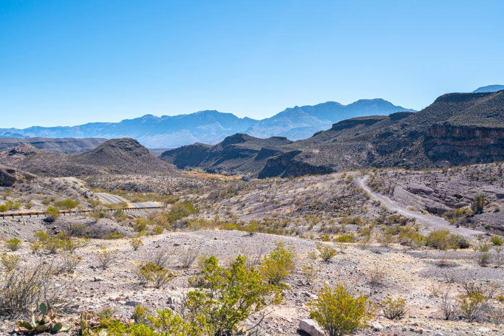 landscape of big bend state park with el camino rey in the background