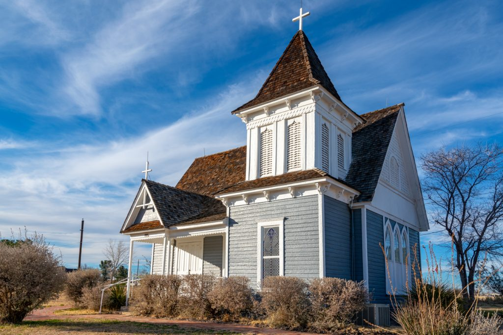 wooden church as seen in fort stockton texas on an austin to big bend road trip tx