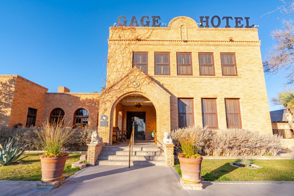 front facade of gage hotel, one of the best places to stay marathon tx