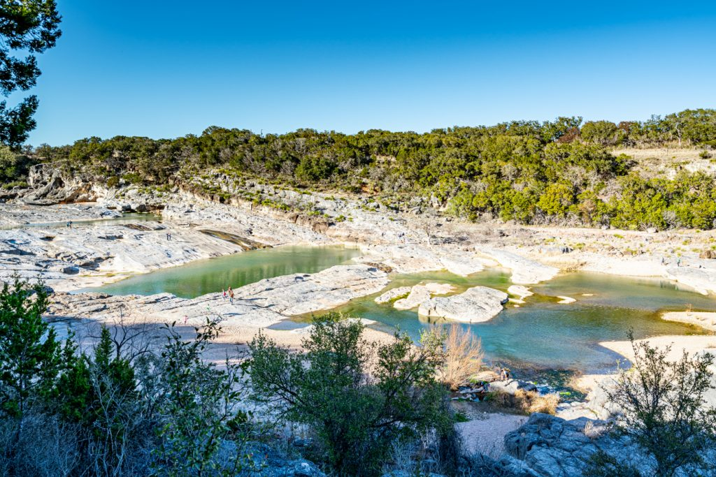 pedernales falls as seen from above, one of the best texas hill country state parks