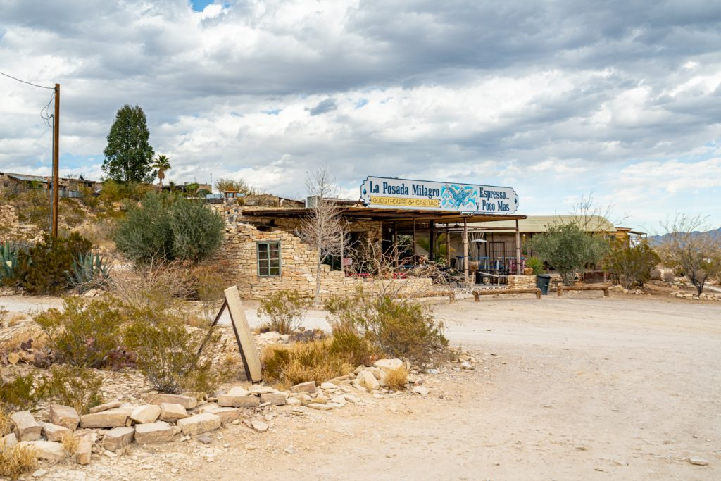 small art gallery located in terlingua on a cloudy day