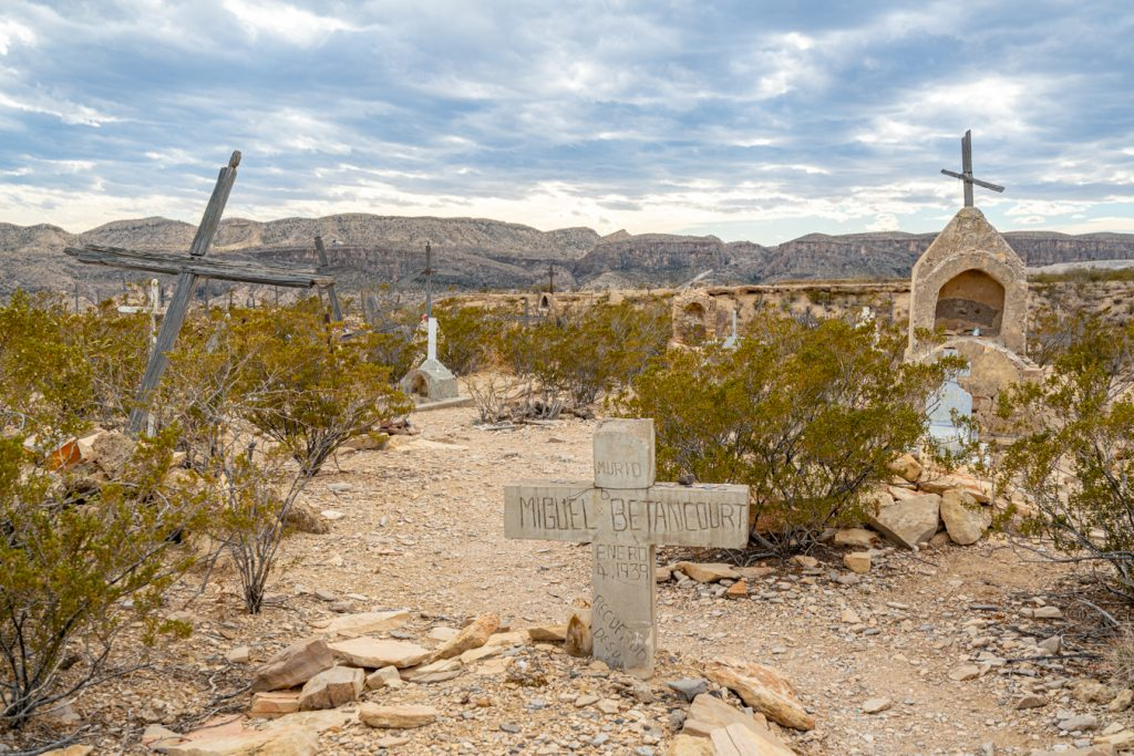 crosses marking graves in terlingua cemetery in terlingua texas