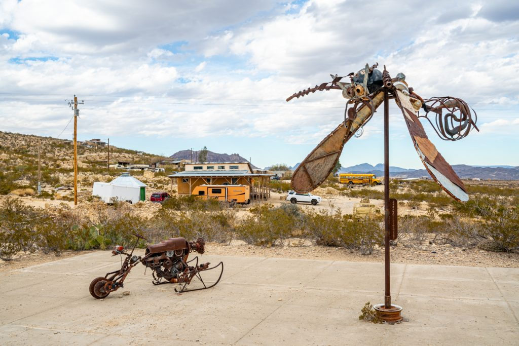 metal statue of a bee in terlingua ghost town