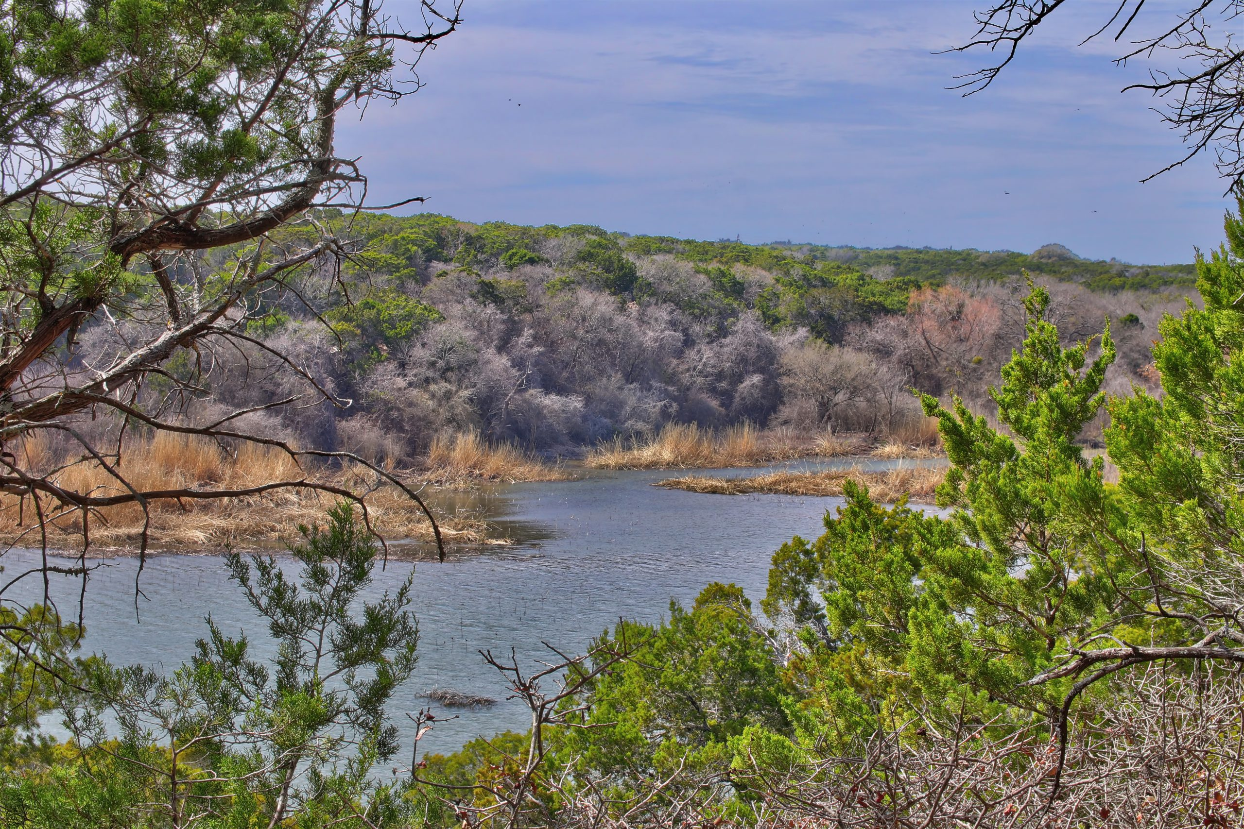 waterway in meridian state park as seen from above, one of the best north texas state parks to visit