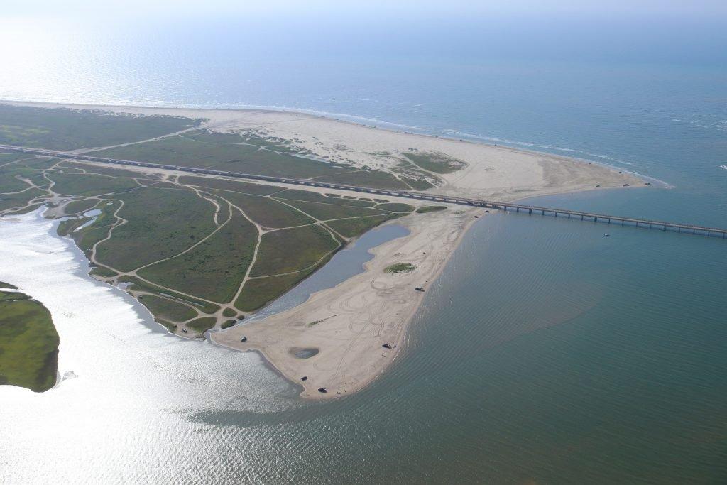 aerial view of san luis pass and galveston beaches