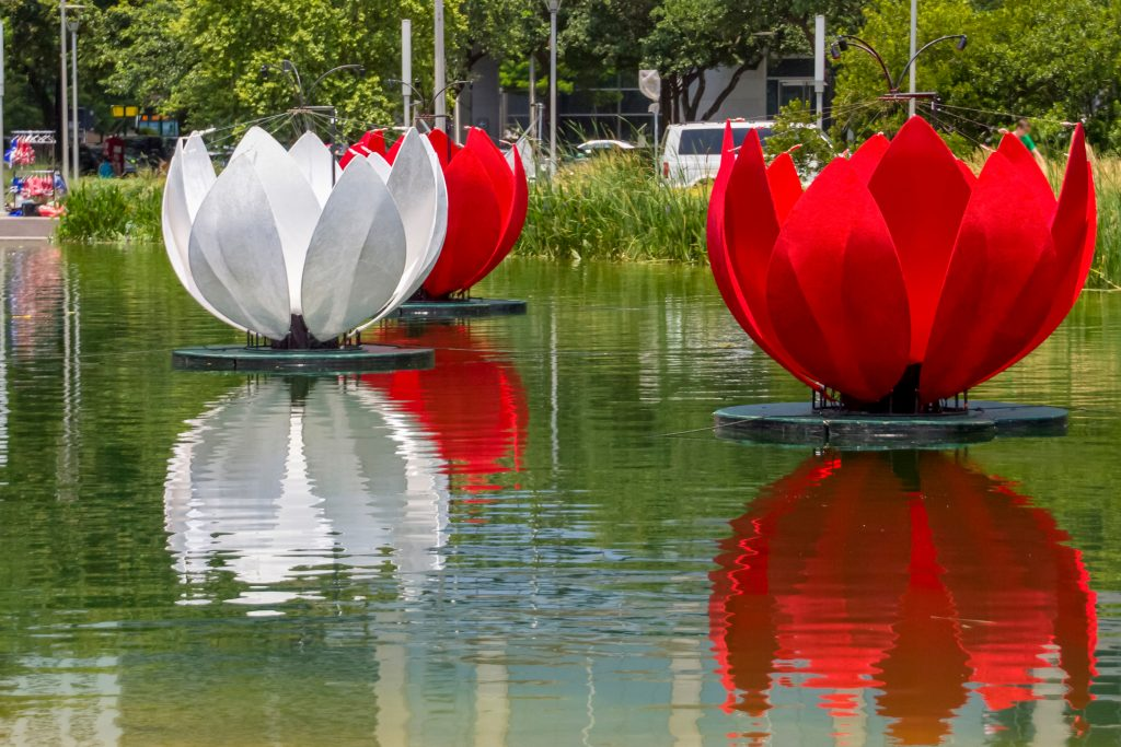 colorful tulip statues on kinder lake in houston tx