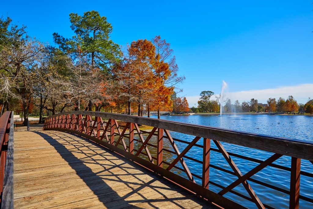 bridge over mcgovern lake, one of the best houston lakes to visit