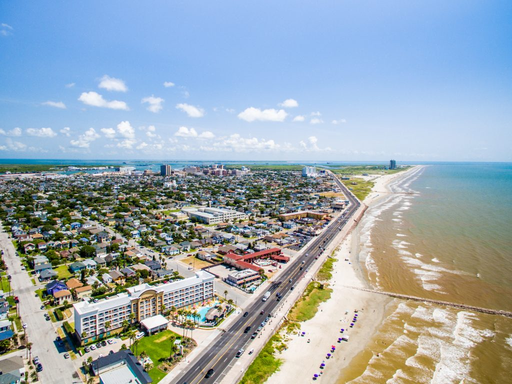 aerial view of galveston island and some of the best beaches in galveston tx