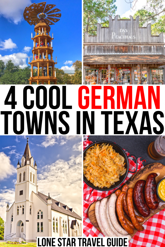 "4 photos of texas german towns: christmas pyramid, shop, church, sausages. black and red text on a white background reads ""4 cool german towns in texas"""
