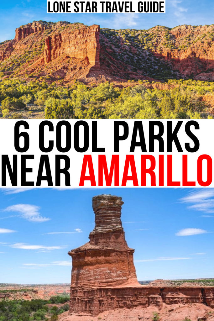 """2 photos of state parks near amarillo tx: caprock canyons and palo duro. black and red text on a white background reads """"6 cool parks near amarillo"""""""