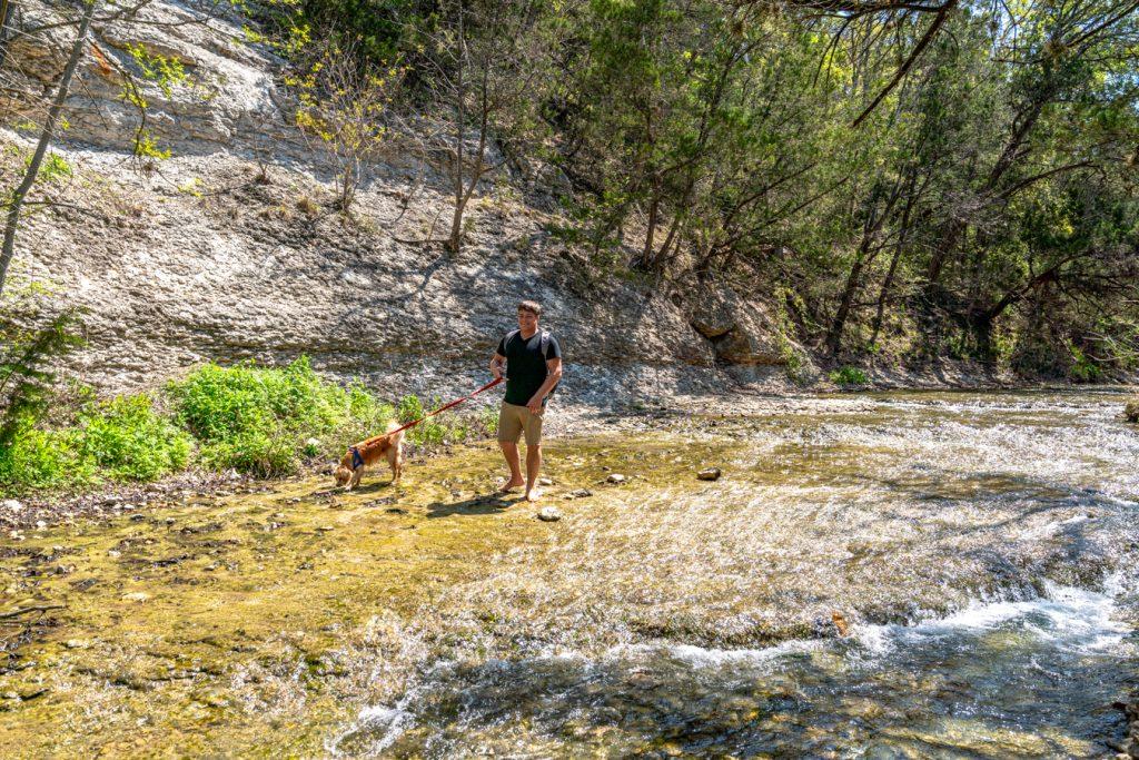 jeremy storm and ranger storm in creek at chalk ridge falls park belton tx
