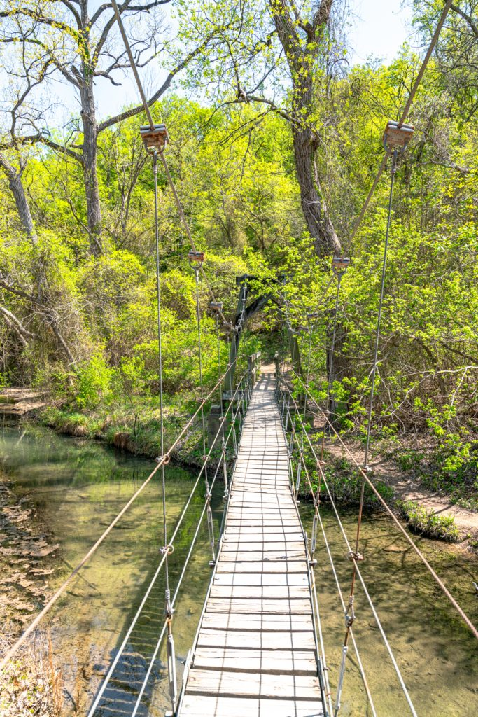 suspension bridge at chalk ridge falls