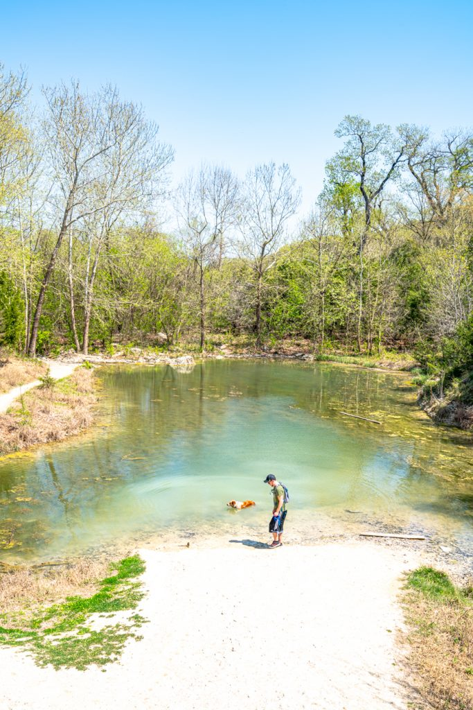 views of a hiker with his dog at a swimming hole in texas