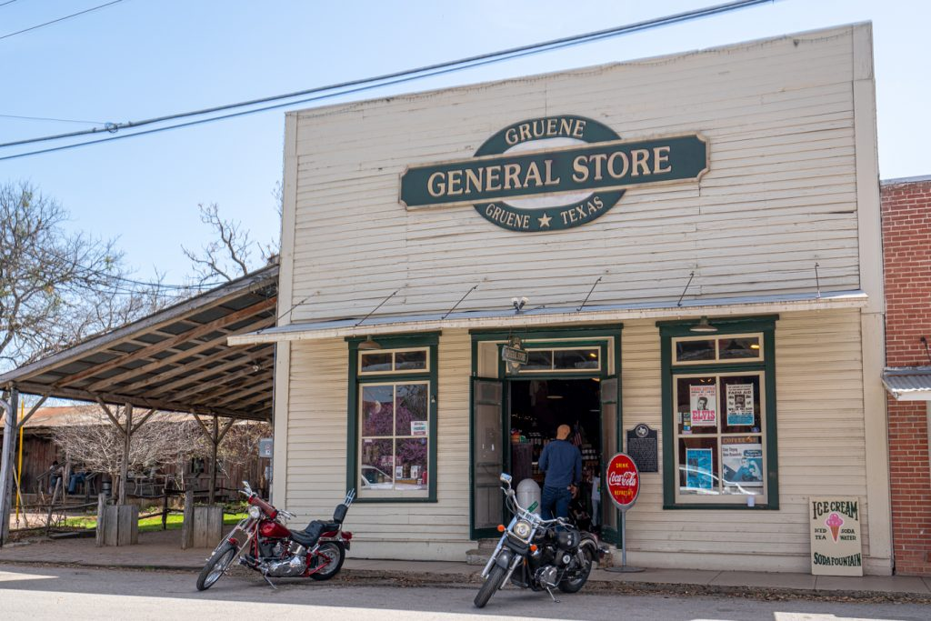 front facade of the general store, one of the best places to visit in gruene texas