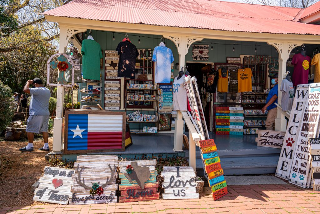 storefront at a small souvenir shop in gruene texas