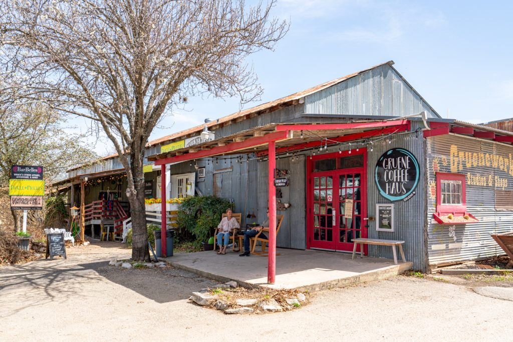 front facade of gruene coffee haus with outdoor seating