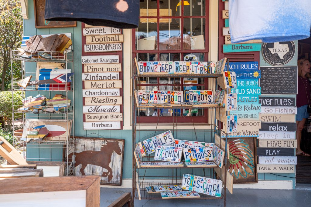 souvenirs for sale ona porch in historic downtown gruene