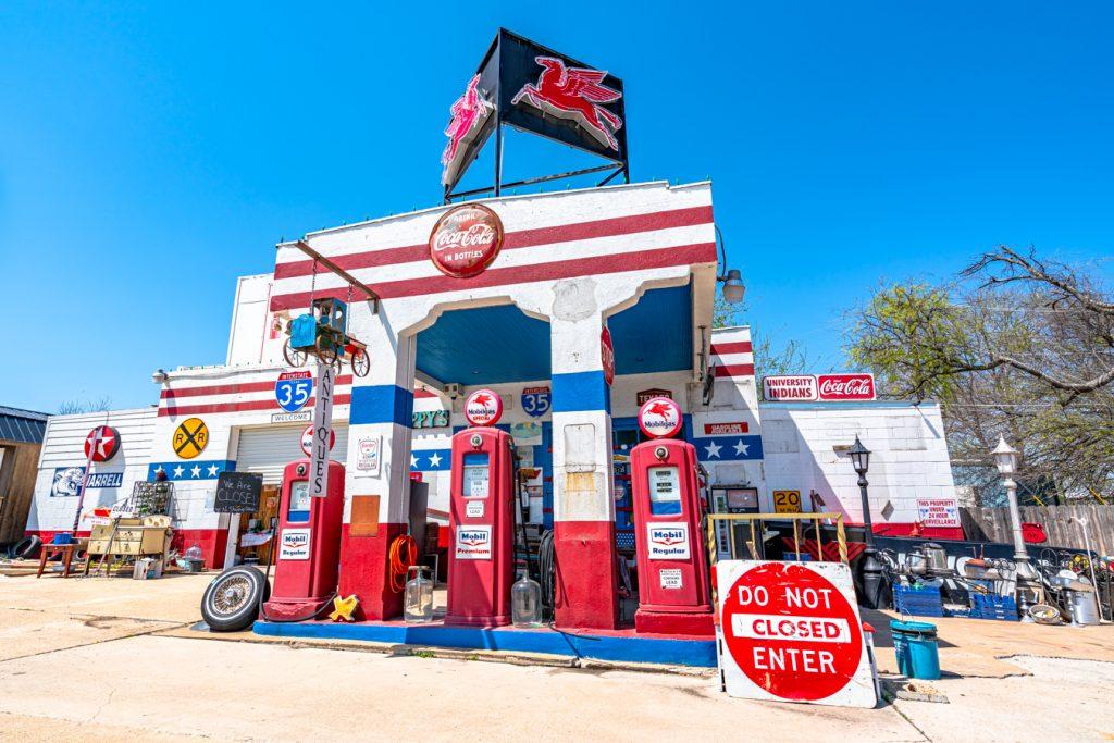 old jarrell gas station vintage storefront in jarrell texas