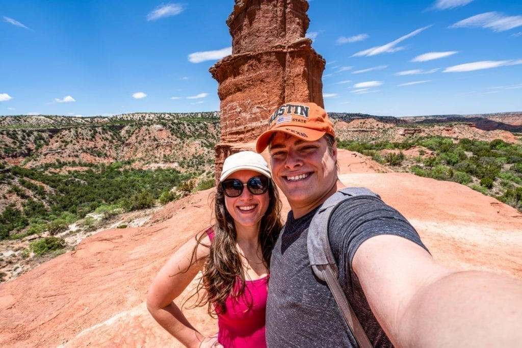 kate storm and jeremy storm taking a selfie at the lighthouse in palo duro canyon