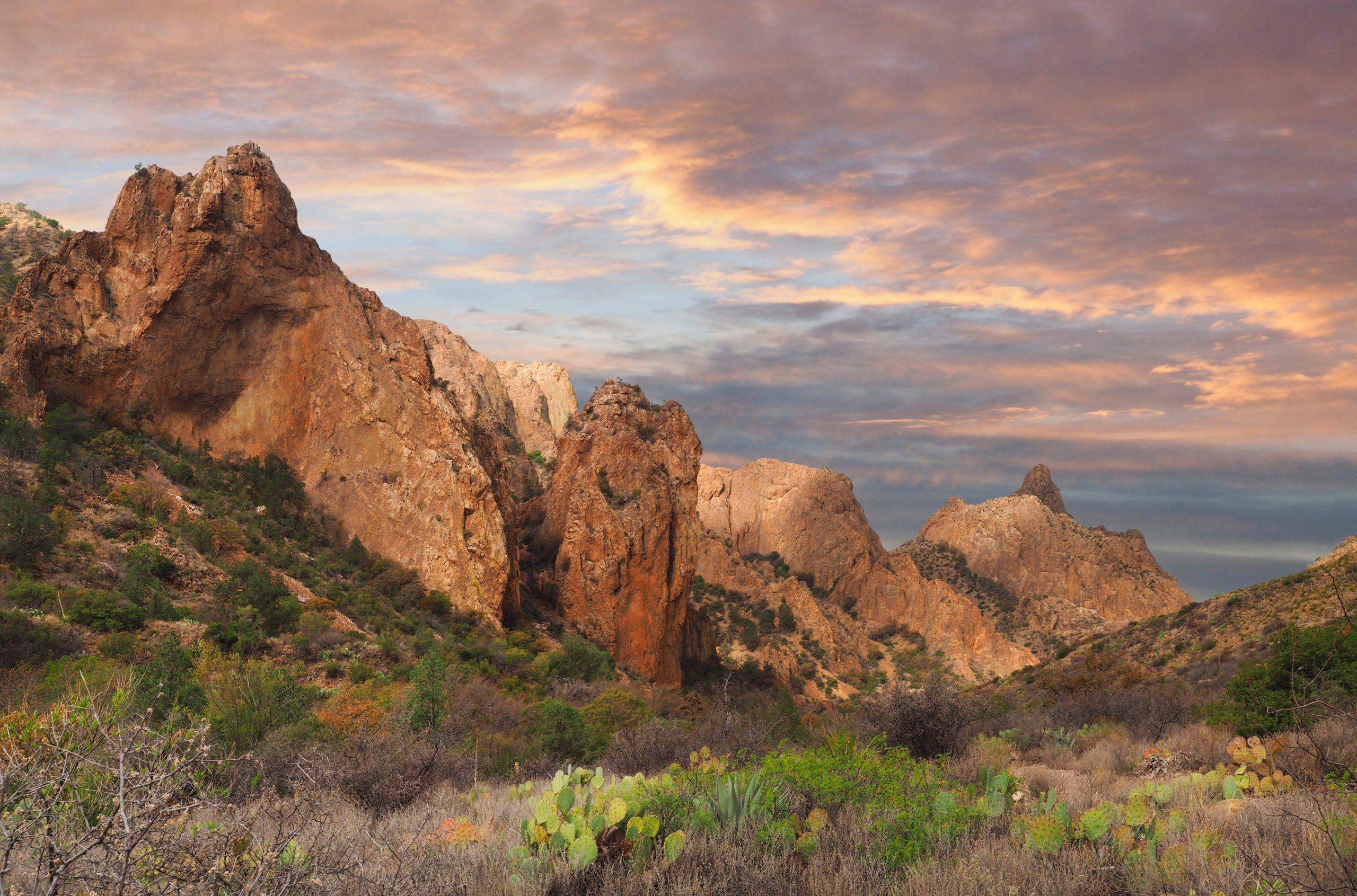 chisos basin mountains in texas at sunset