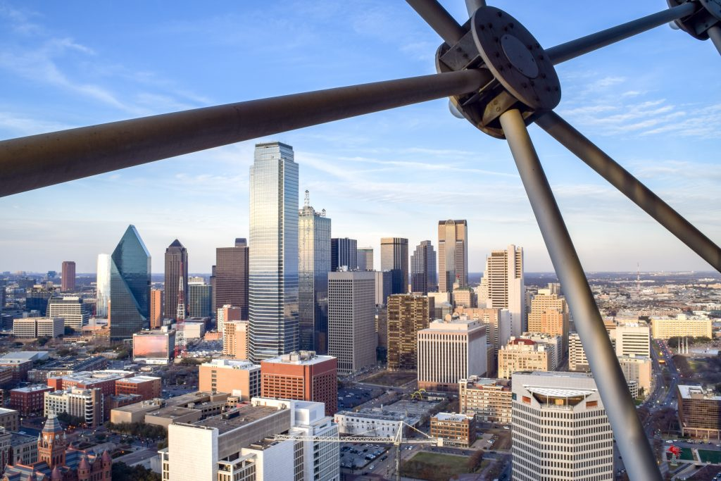 view of dallas skyline from reunion tower, one of the best things to do in north texas
