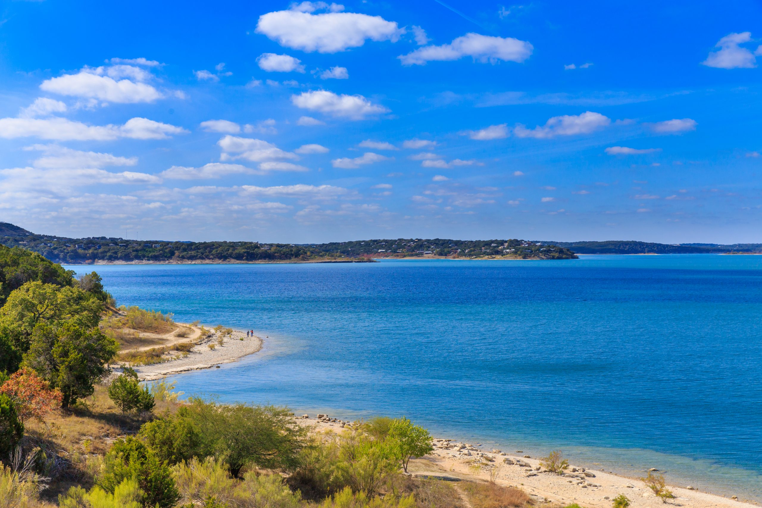 view of canyon lake from above, home to some of the best beaches near san antonio tx