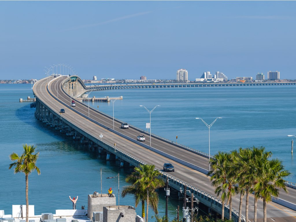 queen isabella causeway as seen from port isabel lighthouse