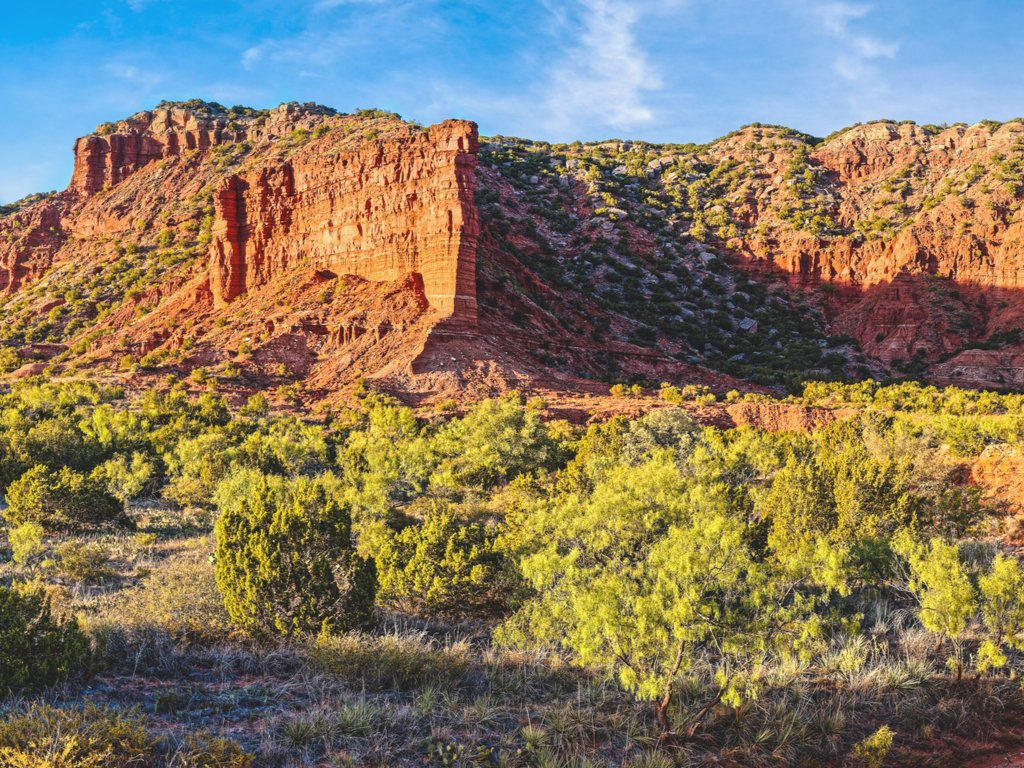 caprock canyons, one of the texas state parks near amarillo texas, at sunset