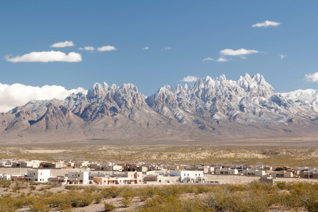 modest skyline of las crueces new mexico with organ mountains in the background