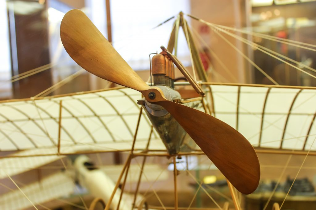 a historic model airplane on display