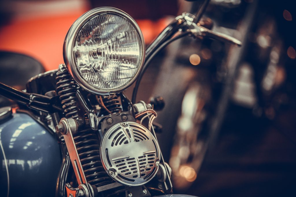 close up view of a vintage motorcycle. the lone star motorcycle museum is in vanderpool texas