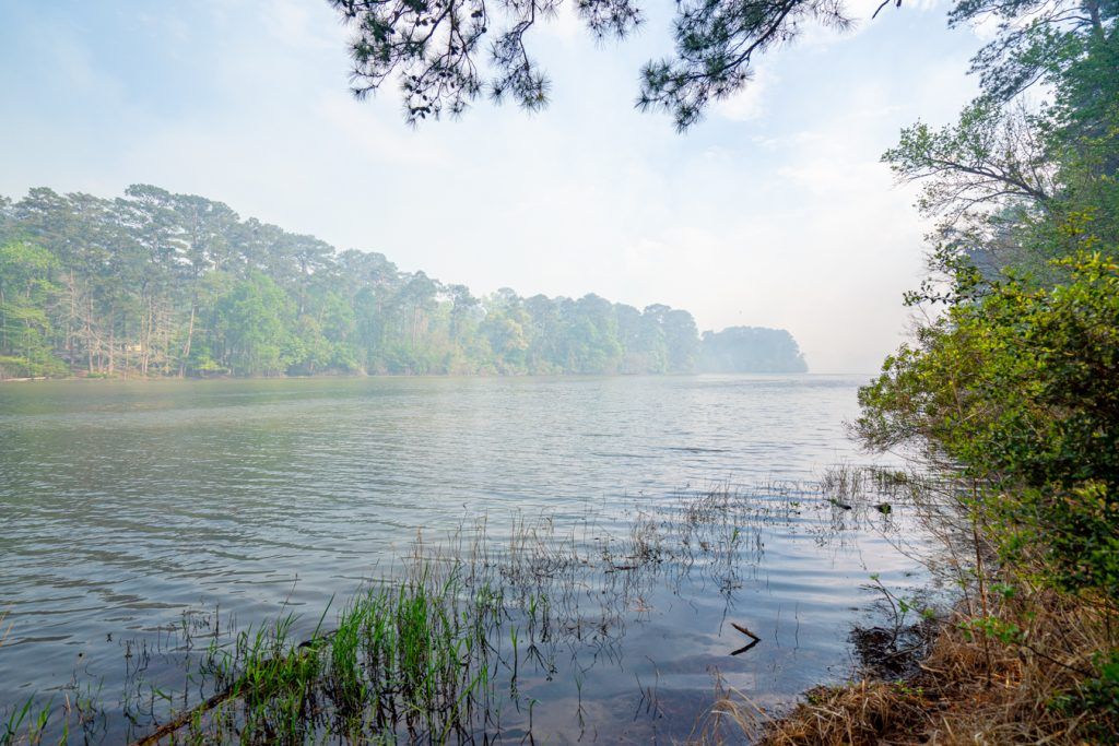 view of lake raven huntsville texas with some fog