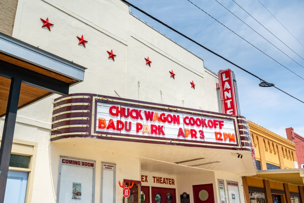 front marquee of the lantex theater advertising a chili cookoff on the marquee