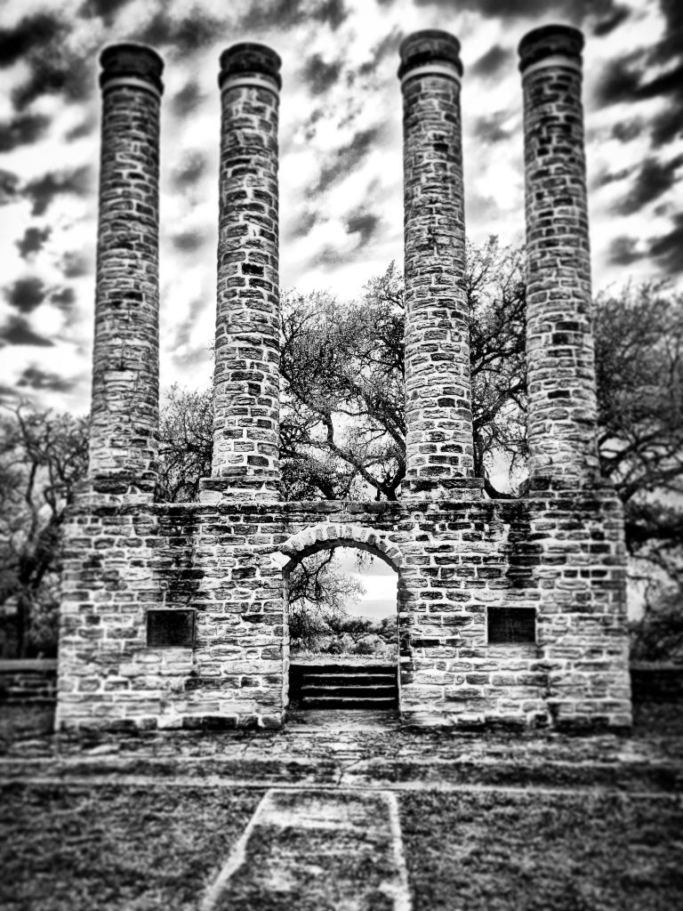 chimey stacks in independence texas in black and white, one of the most famous ghost towns in texas