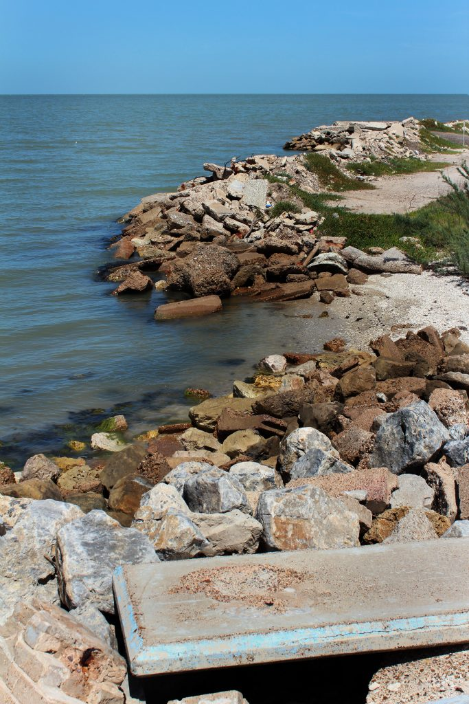 rocky coast along the gulf of mexico near the abandoned town of indianola texas
