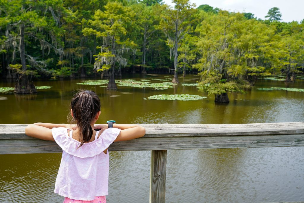 young girl overlooking caddo lake from a boardwalk