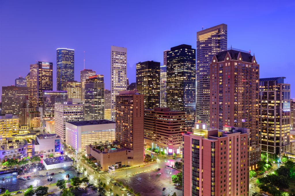 view of the houston skyline at night, the perfect time for seeking out romantic things to do in houston and houston date ideas